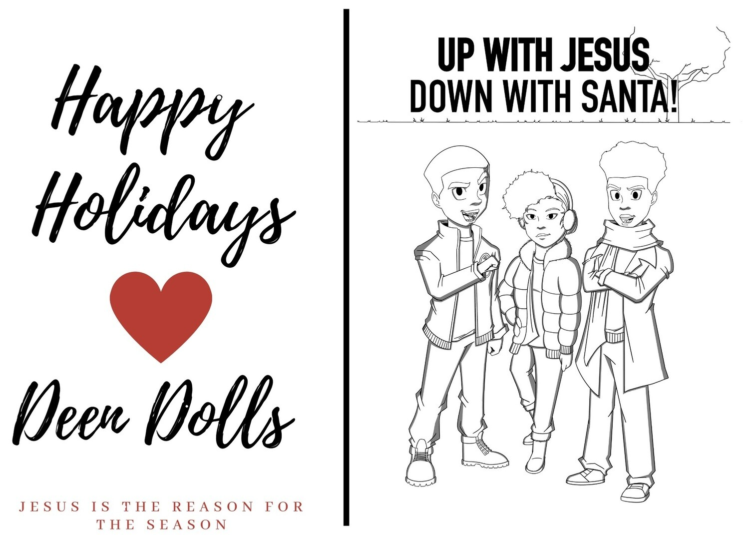 UP WITH JESUS DOWN WITH SANTA COLORING BOOK E-POSTCARDS