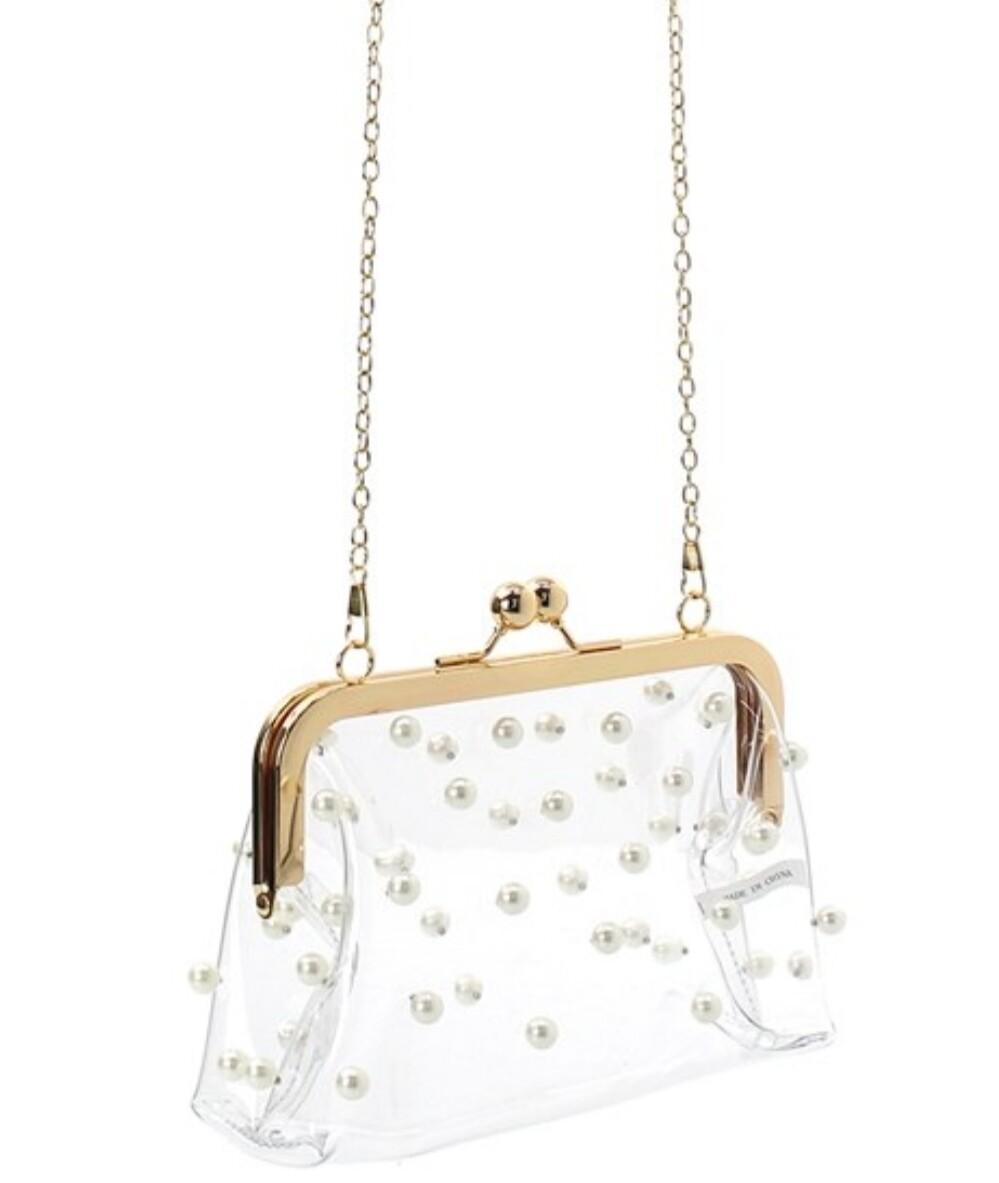 Clear Clutch w/Pearls