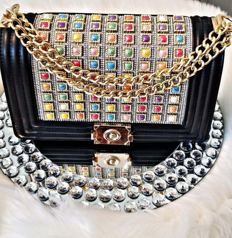 Jeweled Messenger Bag-Black