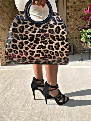 Black Leopard Tote w/matching Wallet