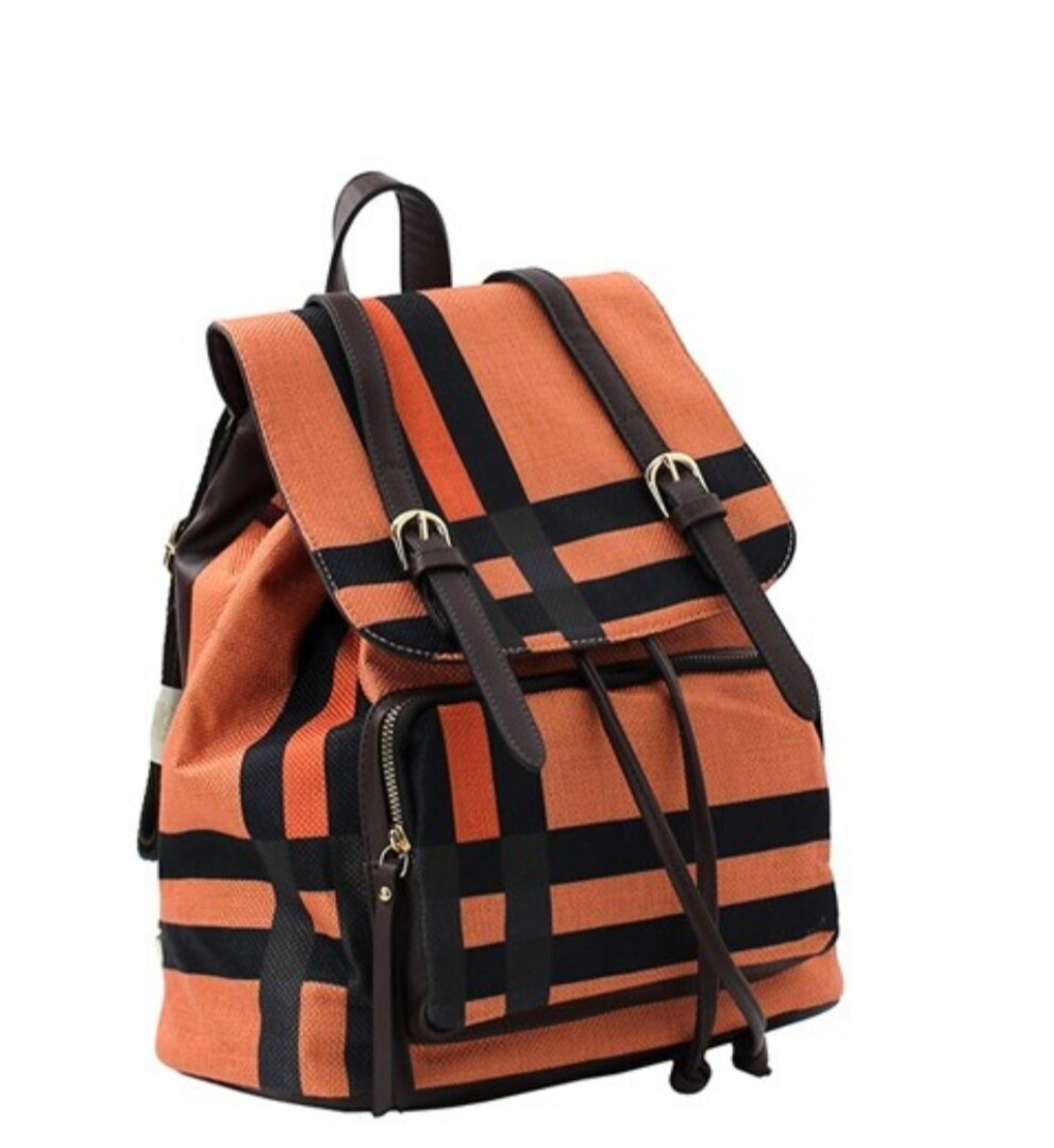 Orange Plaid Backpack