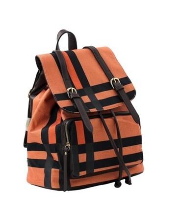 Orange Plaid Backpack