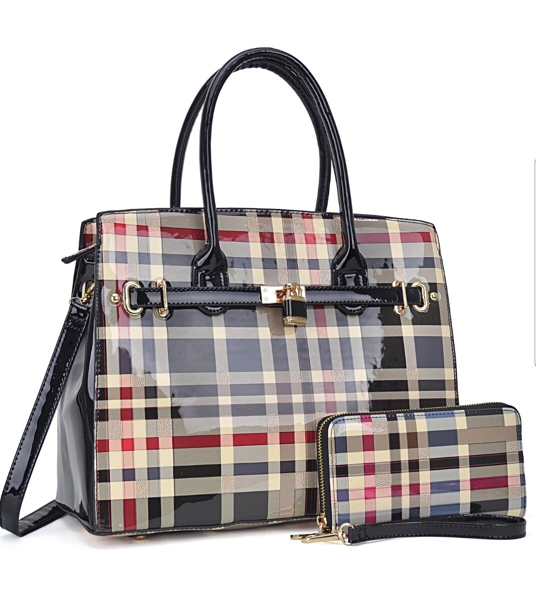 Black Plaid Tote with Wallet
