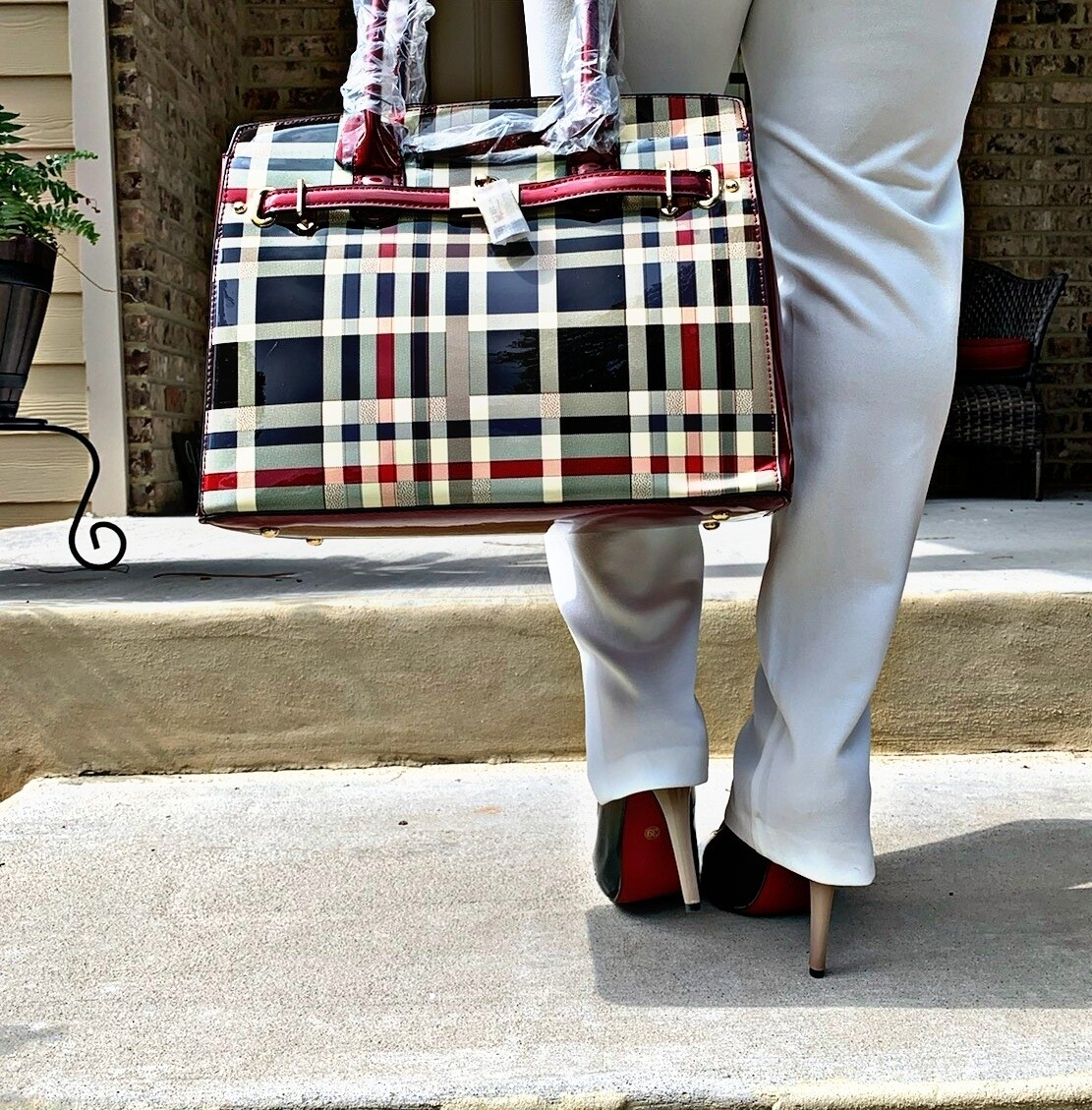 Red Plaid Tote with Wallet