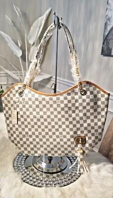 LV White Large Checkered Tassle Bag