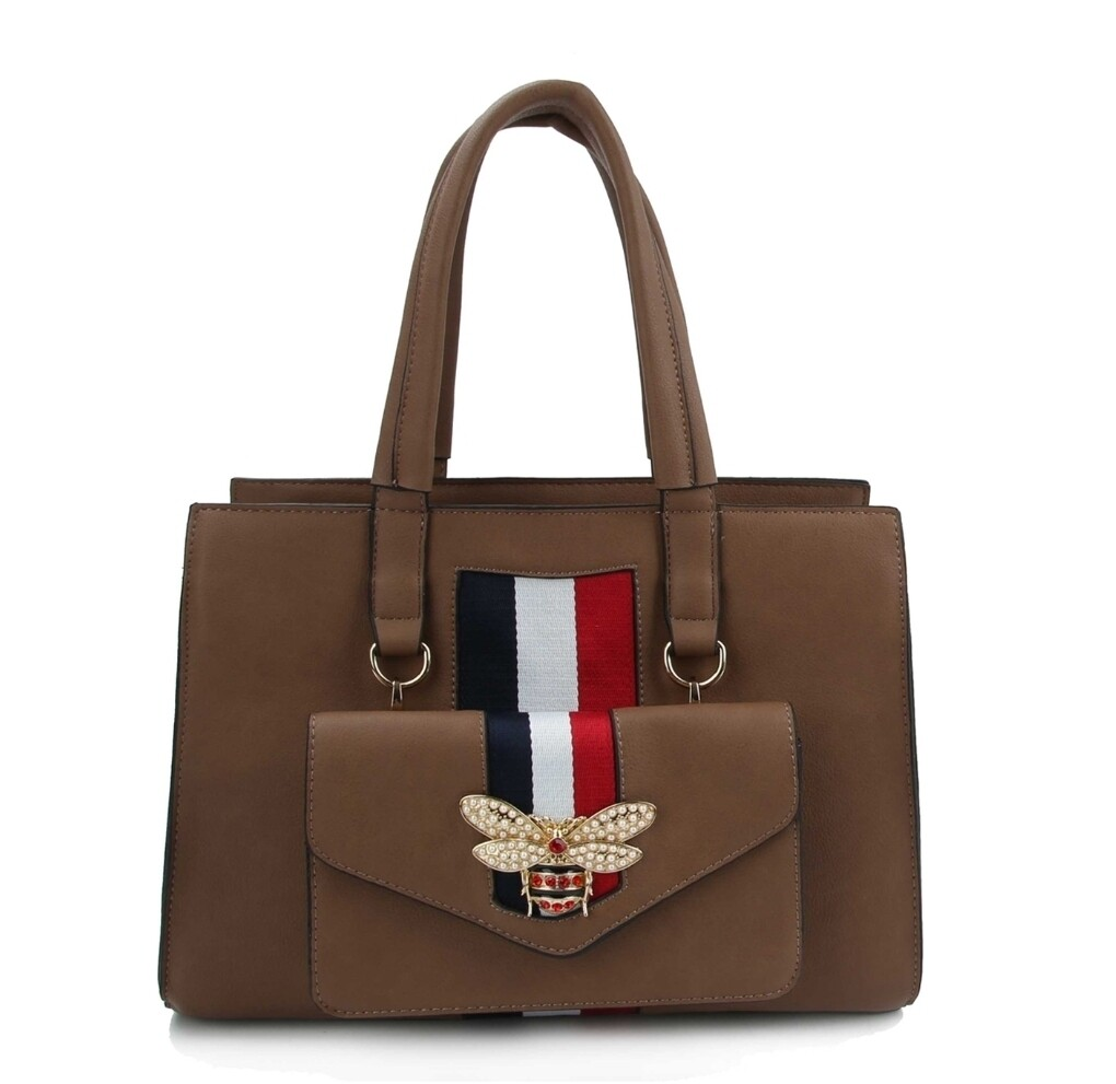 Brown Bee Tote w/Removable Crossbody