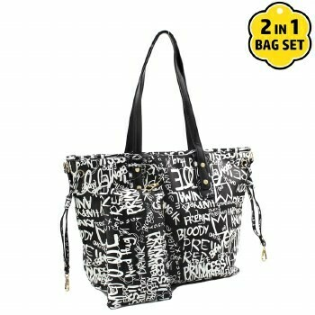 Graffiti Black Shopper Tote w/Clutch