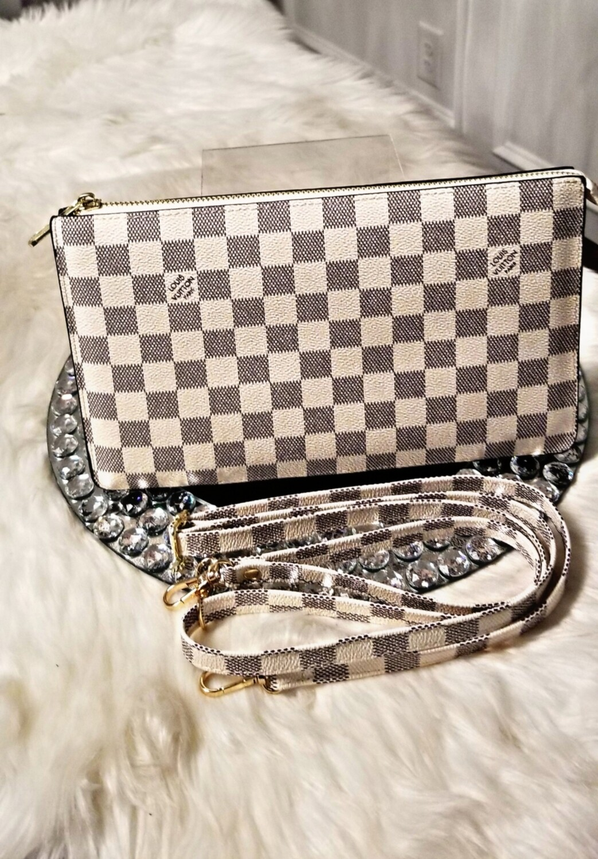 LV White Checkered Crossbody