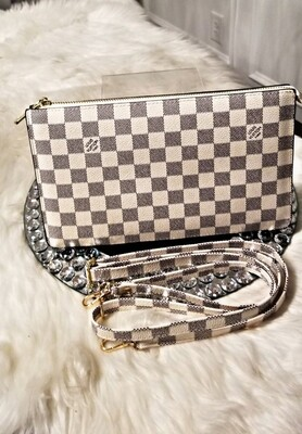 LV White Checkered Crossbody