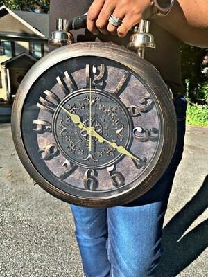 Clock Me Black Satchel