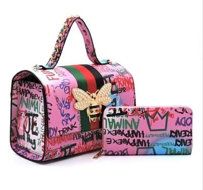 Graffiti Pink 2n1 Satchel-6