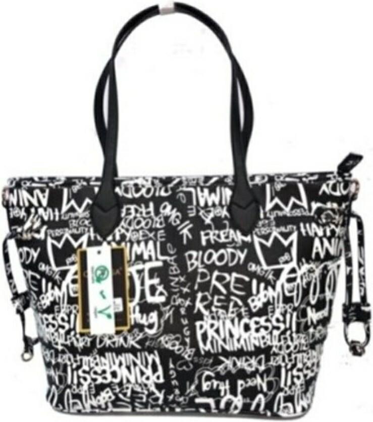 Graffiti Black Shopper Tote