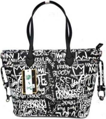 Graffiti Black Shopper Tote w/Clutch