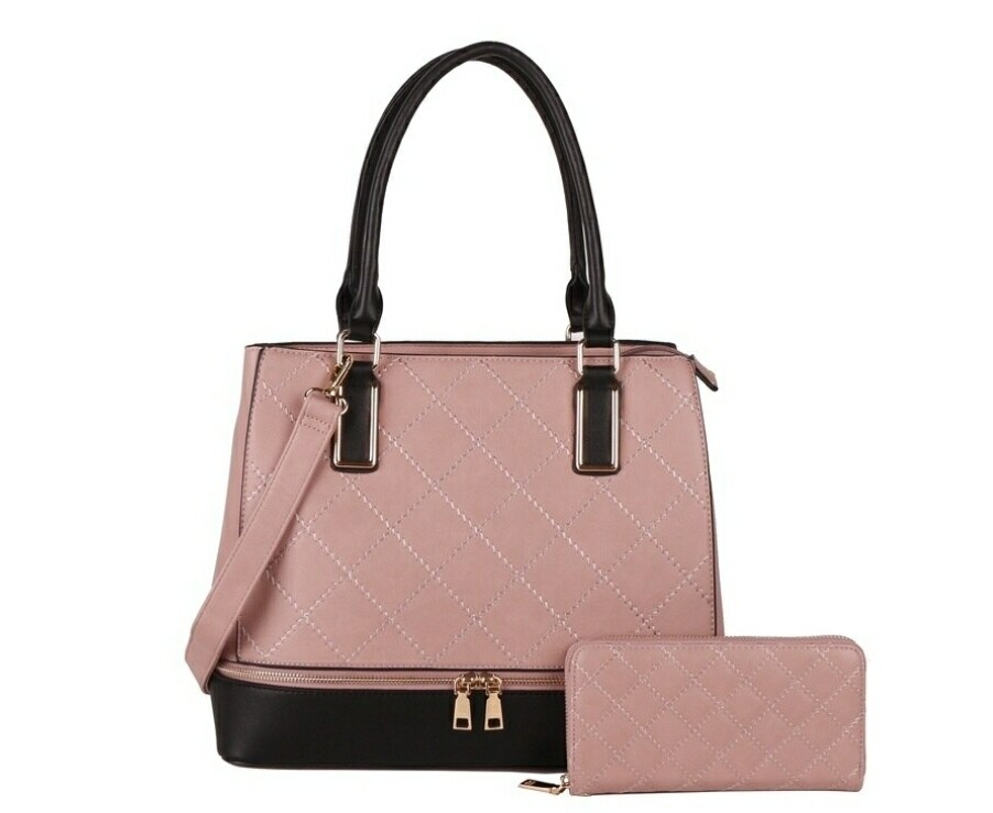 Blush Quilted Satchel 2 pc