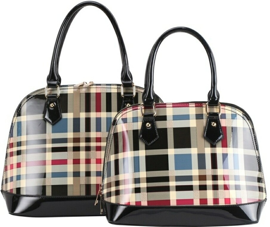 Black Plaid Dome 2 pc
