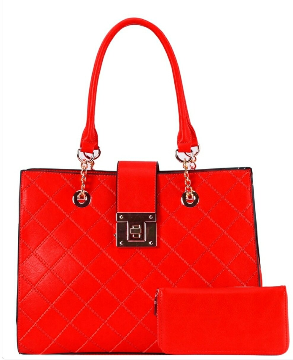 Quilted Red Tote 2 pc