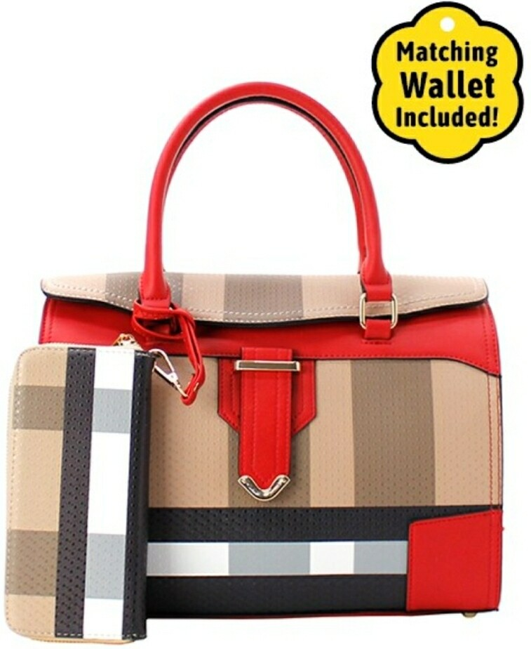 Red Plaid 2 pc Doctor Bag