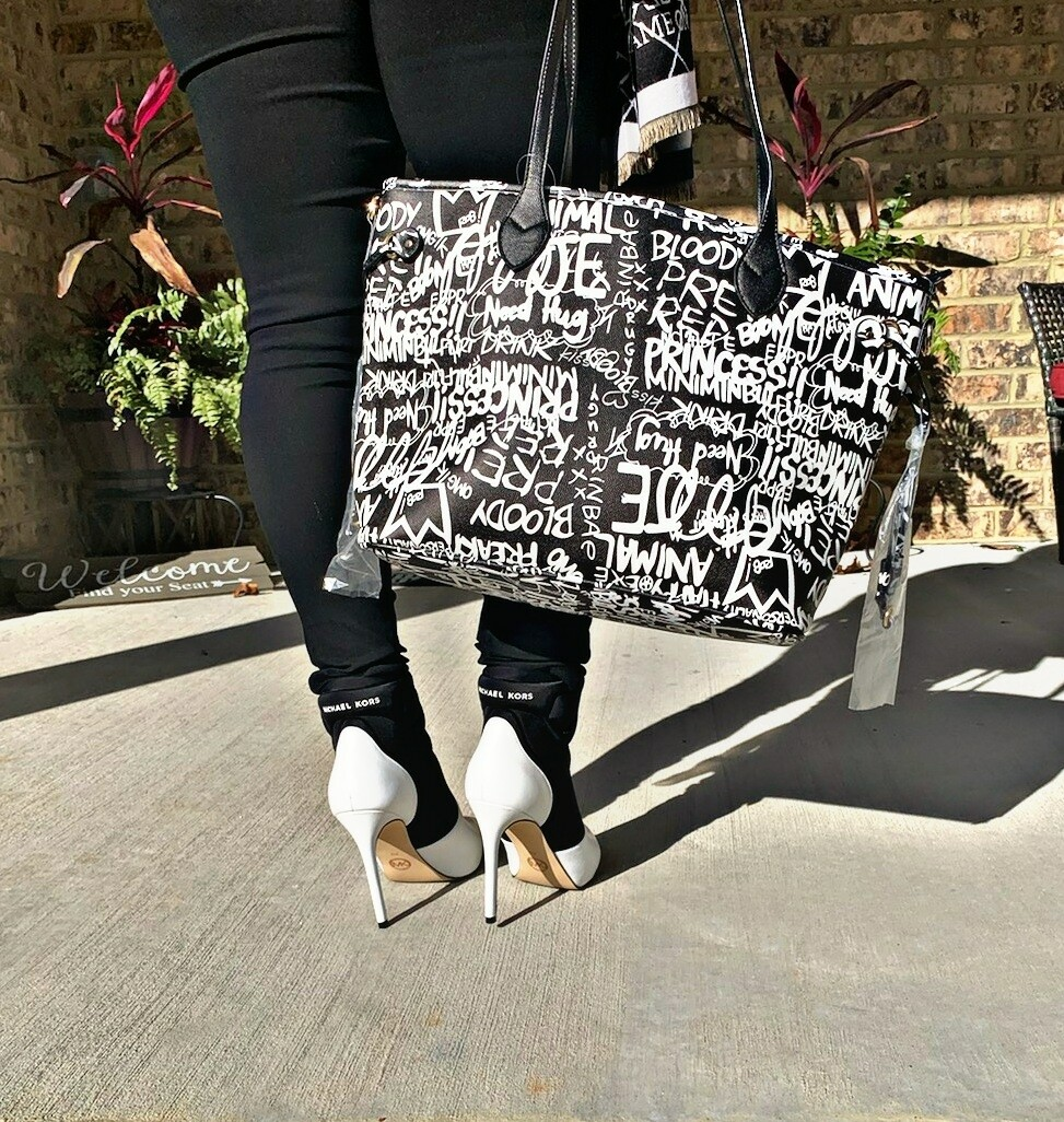 Graffiti Black Shopper Tote