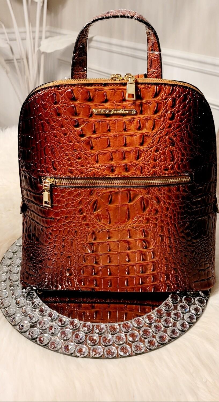 Coffee Ostrich-Croc Backpack