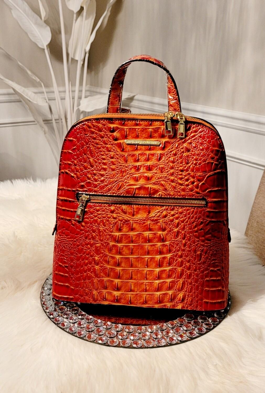 Orange Ostrich-Croc Backpack