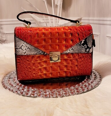 Orange Ostrich-Croc Crossbody