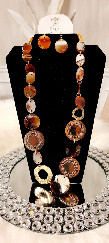 Brown Long Necklace Set