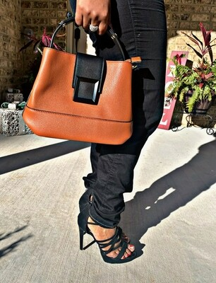 Cognac/Black Crossbody