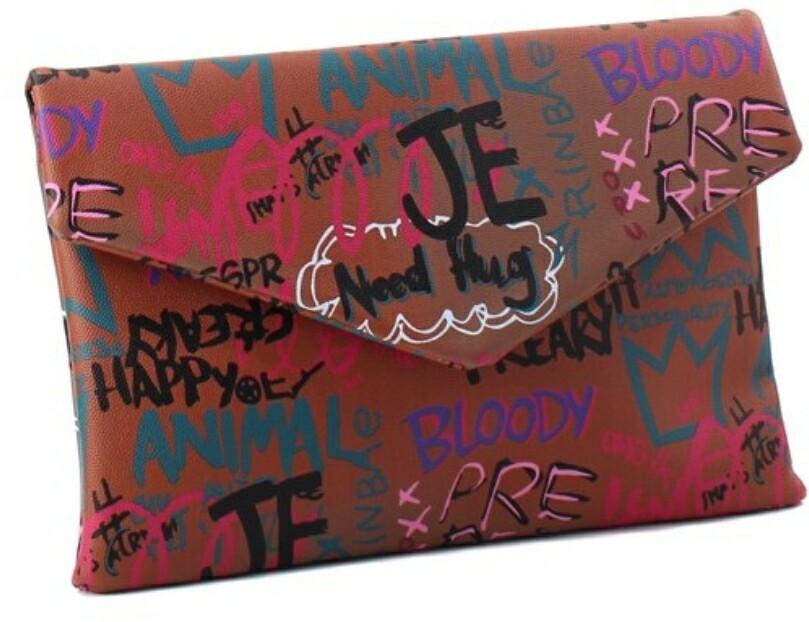 Graffiti Brown Clutch
