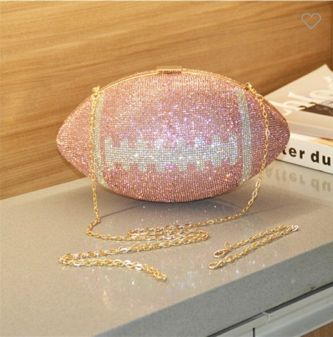 Pink Rhinestone Football