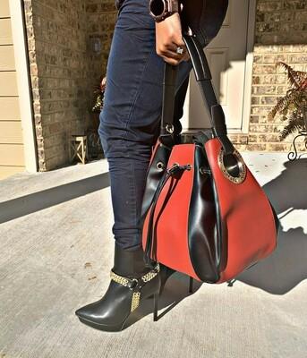 Wine/Black Shoulder Bag