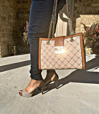Tan Chain-Straped Handbag
