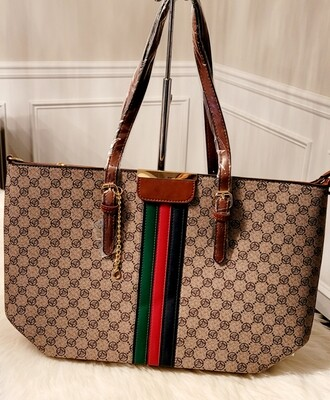 Striped Large Tote- Brown