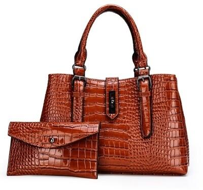 Brown Croc-Patent 2 pc