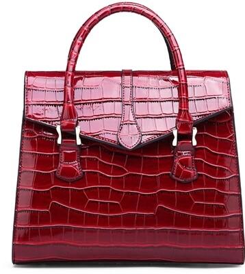 Red Croc-Patent Satchel