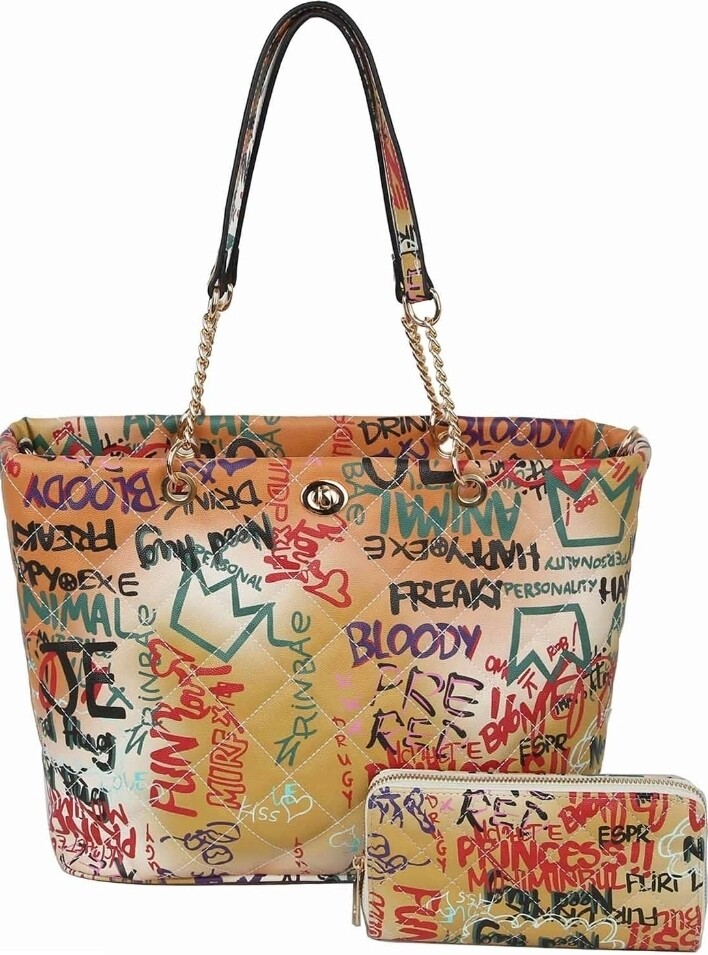 Graffiti Quilted Tote 2 pc