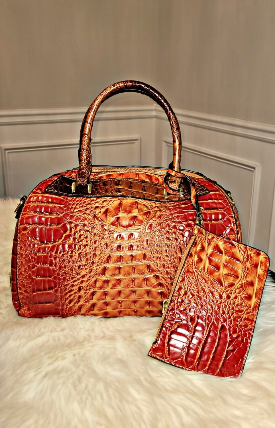 Orange Croc 2 pc Satchel