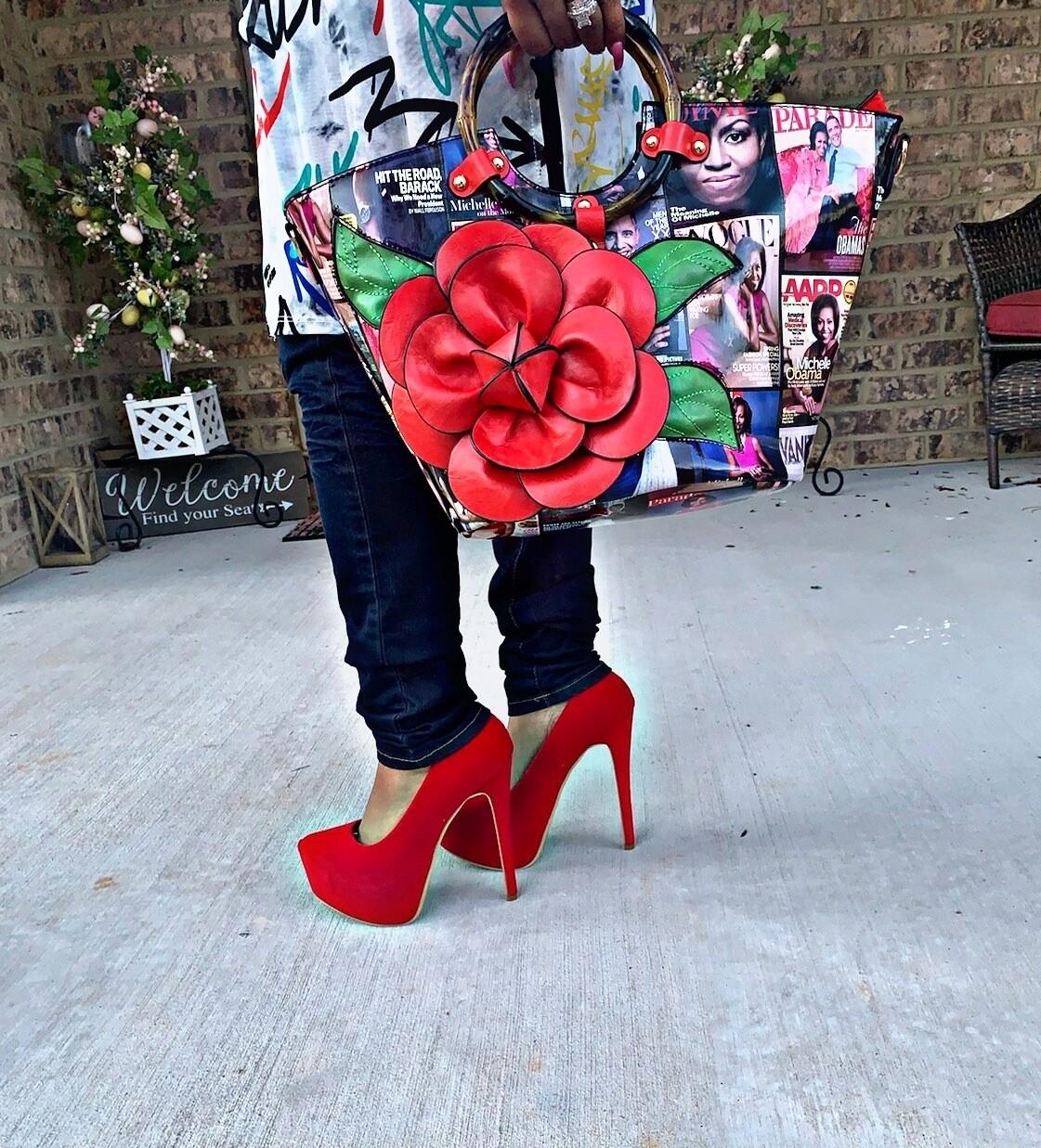 Obama Red 3D Flower Bag