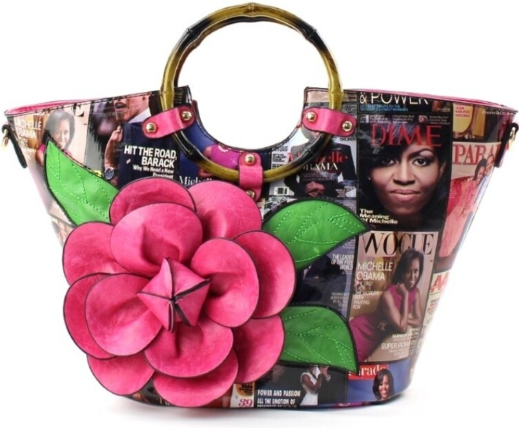 Obama Fuschia 3D Flower Bag