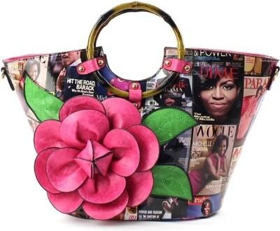 Obama Fuschia 3D Flower Bag