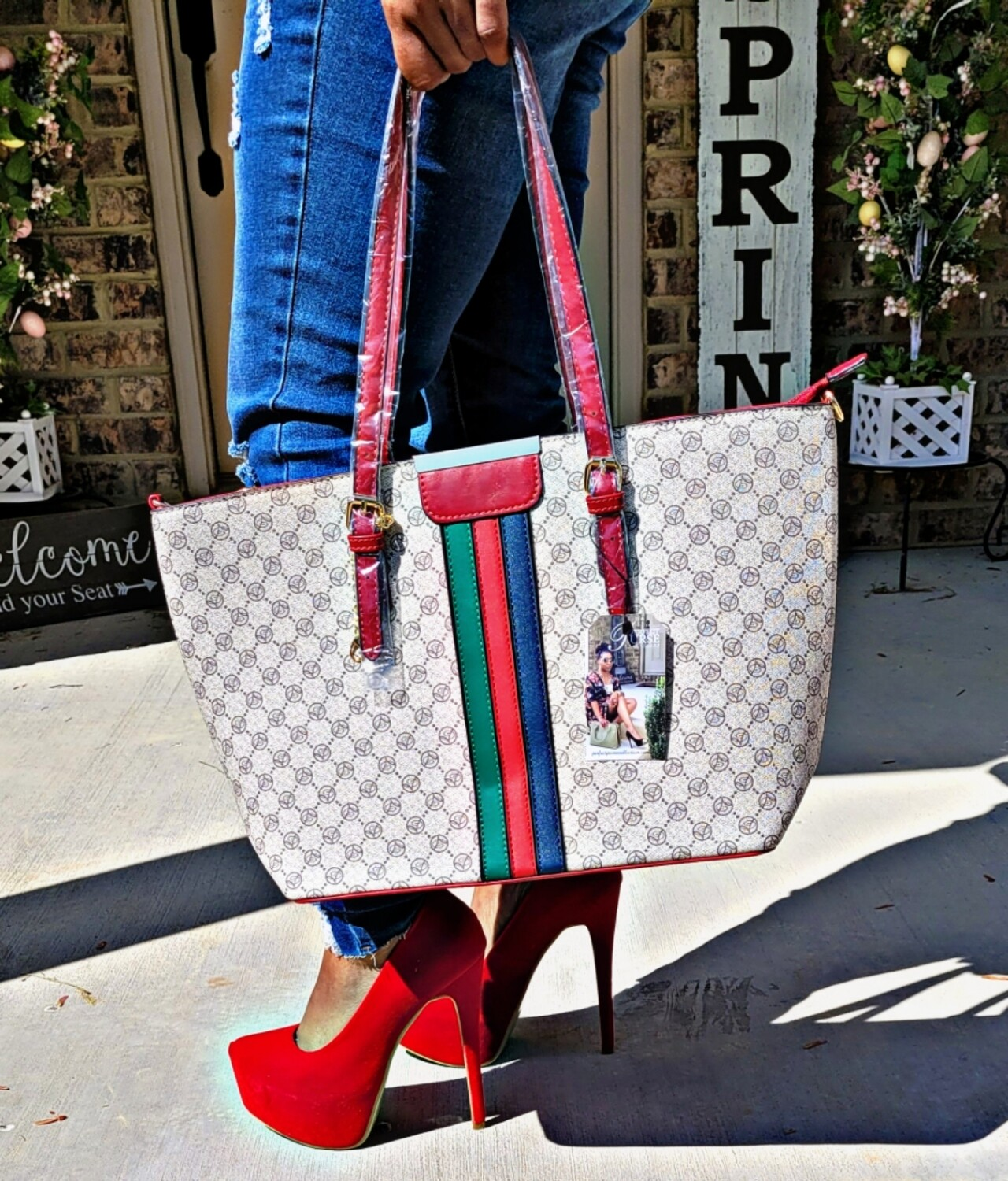 Striped Large Tote - Red