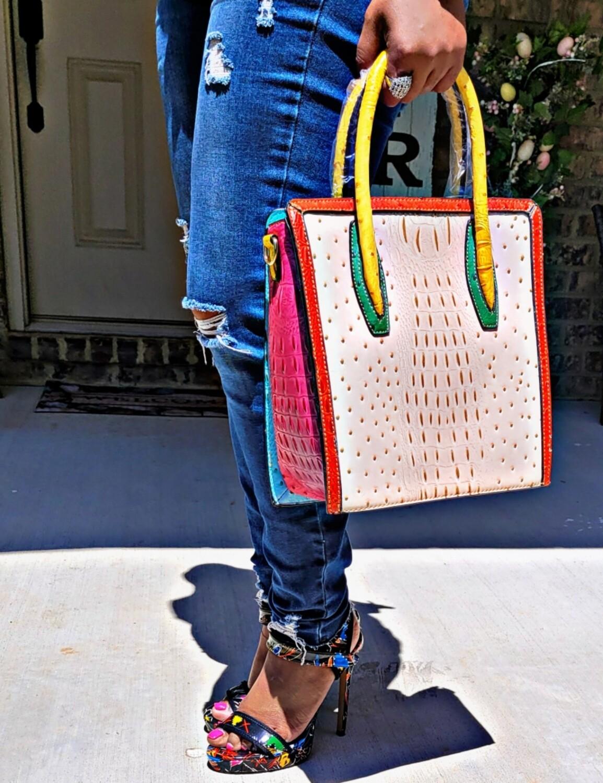 Beige Color Croc Bag