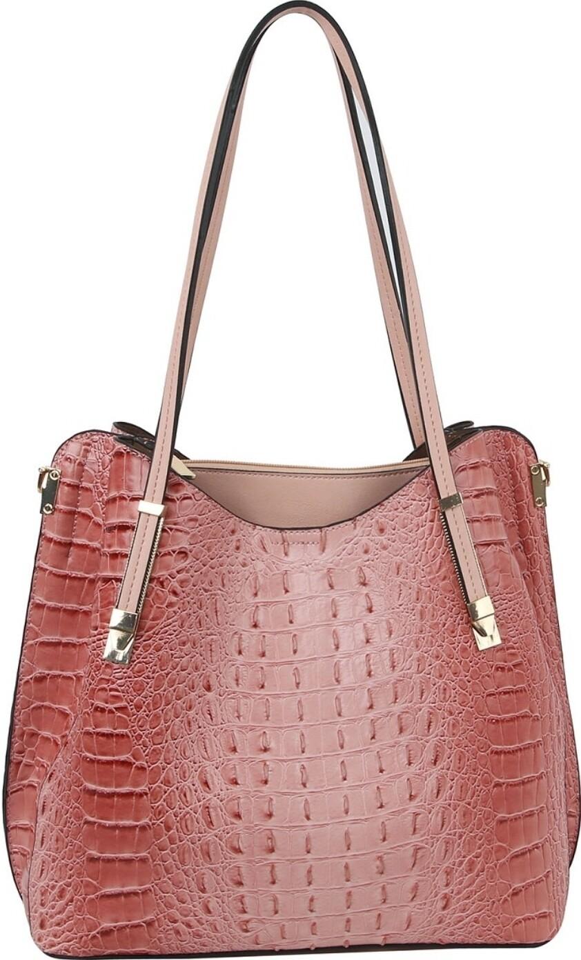 Blush Croc Shoulder Bag