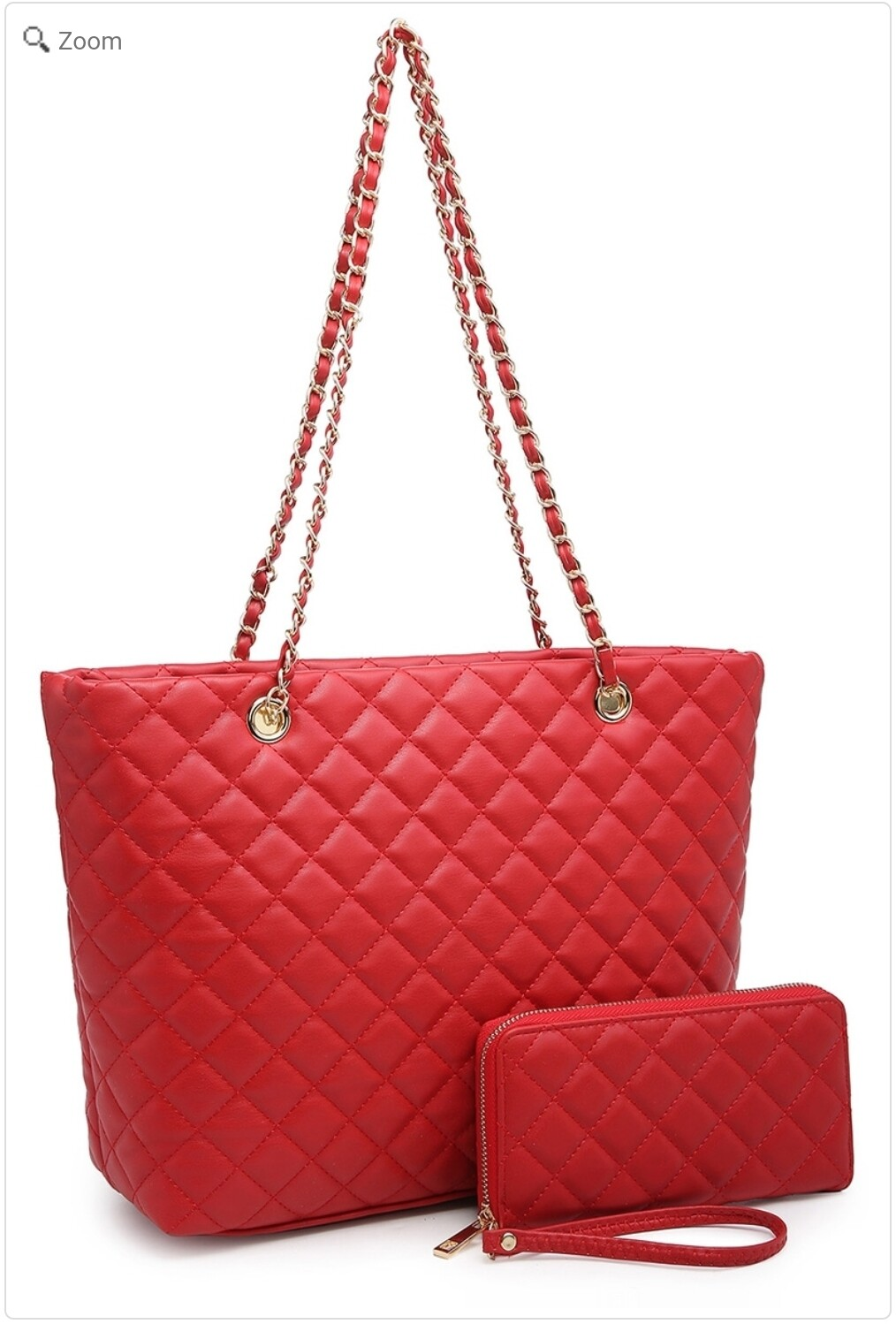 Red Quilted Tote 2 pc