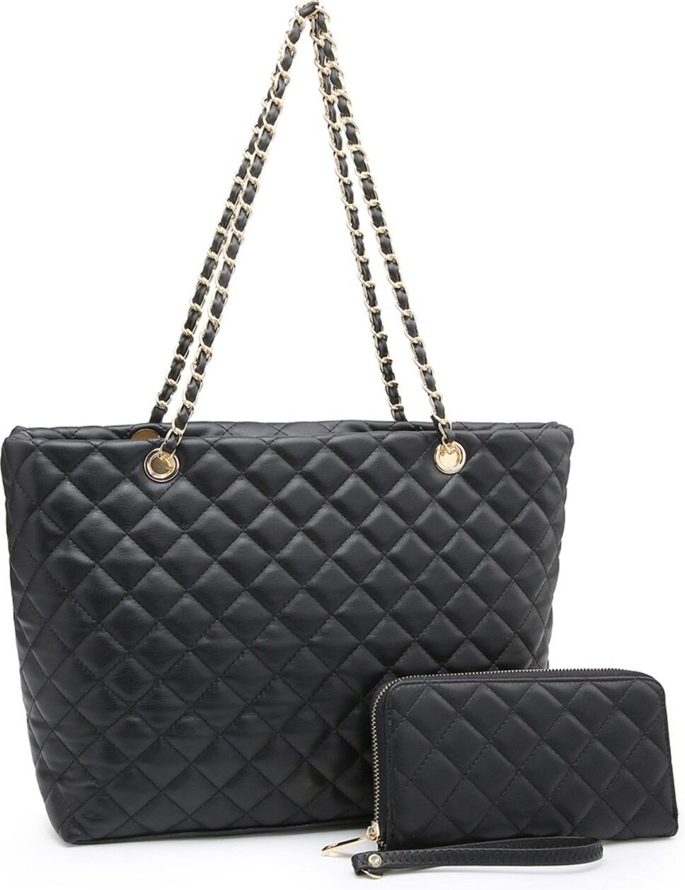 Black Quilted Tote 2 pc *Preorder*