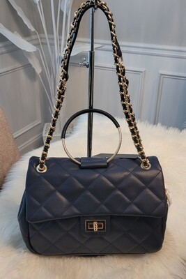 Navy Quilted Messenger w/Wallet