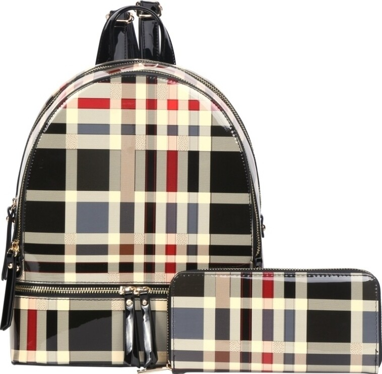 Black Patent Plaid Backpack