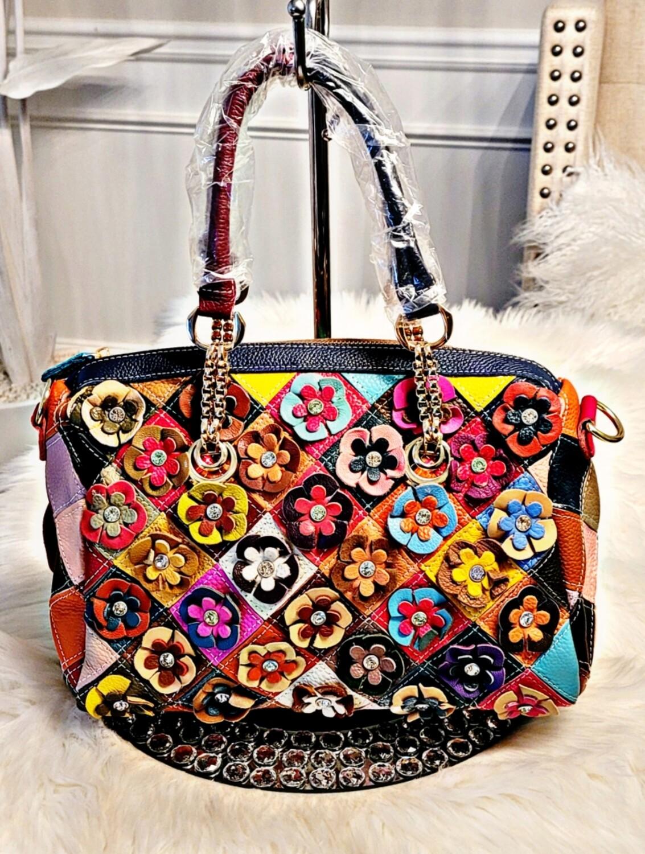 Genuine Leather Rhinestone Duffle Bag