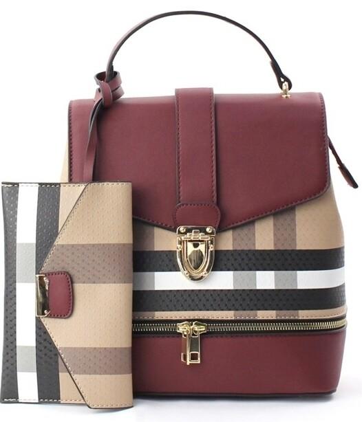 Plaid Burgundy Backpack w/Wristlet