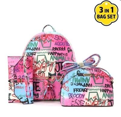 Pink Graffiti 3 pc Set