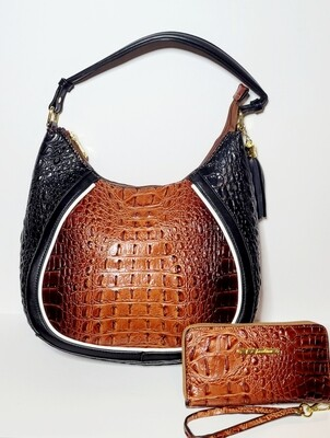 Coffee Croc Shoulder Bag